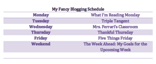 Daily Blog Schedule