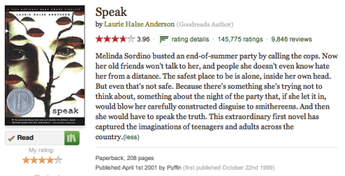 a review of speak a novel by laurie halse anderson