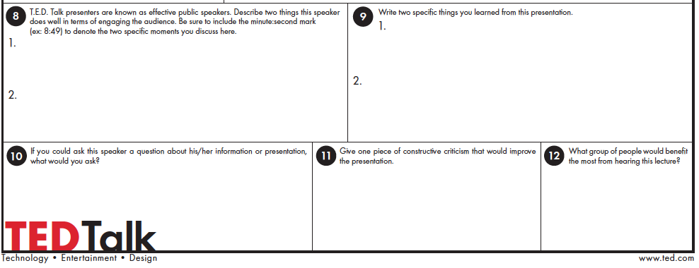 TED Talk worksheet | Forever Within the Numbered Pages